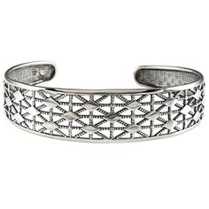 Checkered Diamond Design Flexible / Adjustable Cuff Bracelet in Sterling Silver acb-08