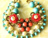 Flower Necklace, Vintage Jewelry, Beaded Necklace, Turquoise Jewelry, Coral Necklace, Statement Jewelry