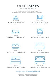 Printable Quilt Size Guide - Download the PDF from quiltsizeguide.com | Powered by Girefffy, delivering useful information, beautifully