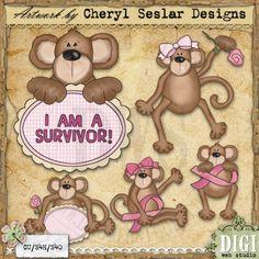 Breast Cancer Monkeys 1 - Exclusive Cheryl Seslar Clip Art
