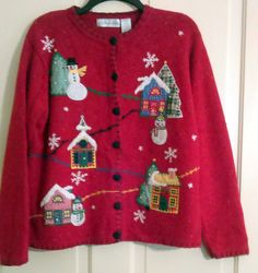 Victoria Jones Red Black Fleck Knitted Appliqued Embellished Church, Snowmen, Houses, Christmas Trees, Ugly Christmas Cardigan Size X Large by AntiquesandStuff56 on Etsy