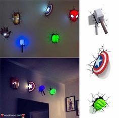 The BEST Christmas gift EVER!! These 3D Marvel Superhero Lights will look so cool in the kids room or playroom! All Superhero styles here: http://amzn.to/2gbEo3j