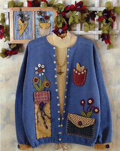 Caught Up in Stitches KS 251 Pickins for Your pockets sweatshirt jacket applique spring pattern Quilted Sweatshirt Jacket, Sweatshirt Jackets Diy, Sweatshirt Refashion, Quilted Jacket, Sewing Clothes, Diy Clothes, Sweatshirt Makeover, Old Sweater, Altered Couture