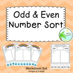 Odd and Even Number Sort page SET) by Sand and Sunsets 100 Number Chart, Number Worksheets, Little Learners, Teacher Pay Teachers, Teacher Newsletter, Maths, Sorting, Numbers, Year 2