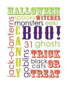 Halloween Word Art Printable by FireDancerDesigns on Etsy, $4.00