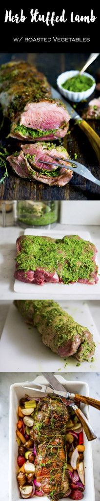 Herb Crusted and Stuffed Leg of Lamb with Mint Gremolata, a step by step guide to an amazingly delicious holiday main course, baked over roasted vegetables.   www.feastingathome.com
