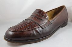 Bragano Mens Walnut Woven Leather Slip-On Loafer Shoes 14 D Made in Italy #Bragano #LoafersSlipOns