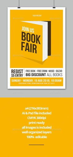 author, book, books, children's book, comic, comic con, community, event, fair, fest, flyer, leaflet, literature, market, new, pamphlet, parade, poetry, poster, poster design inspiration, sale, school, shop, store, student, used, workshop, writing This design will great to promote your Book Fair Event.   Specification   CMYK Color Mode 300 DPI Resolution ai & psd File Included Editable Text Layers  Well Organized Layer all images is included   Features Fonts used: - bebas-neue  >&... Writing Posters, Book Posters, Event Flyer Templates, Flyer Design Templates, Book Cover Design, Book Design, Pamphlet Design, Music Flyer, Book Festival