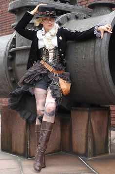 Wonderfully complex outfit. Love the stockings under shorts under a high-low bustle skirt