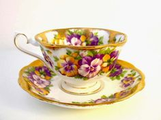 Royal Albert teacup with gold and purple pansies | Flickr - Photo Sharing!