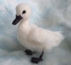 Items similar to Needle Felted Baby Swan Cygnet, Life sized Wool Swan on Etsy Needle Felted Animals, Felt Animals, Needle Felted Cat, Cute Little Animals, Cute Funny Animals, Baby Swan, Needle Felting Tutorials, Ugly Duckling, Felt Baby