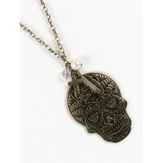 AGED FINISH METAL SKULL PENDANT NECKLACE