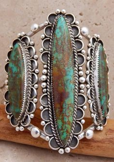 Navajo Sterling Silver High Grade Green Turquoise Three Stone Bracelet in Jewelry & Watches, Ethnic, Regional & Tribal, Native American   eBay