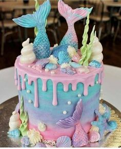 mermaid cake for mermaid birthday party Mermaid Birthday Cakes, Birthday Cake Girls, Birthday Ideas, First Birthday Girl Mermaid, Mermaid Birthday Party Ideas, Mermaid Birthday Decorations, Frozen Birthday, Princess Birthday, 10th Birthday