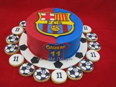 Chocolate cake for a young Barcelona fan and soccer vanilla butter cookies piped with royal icing