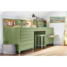 Martha Stewart Living Craft Space 42 In. W 8 Drawer Flat File Cabinet In  Rhododendron Leaf