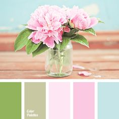 Delicate pink shades and delicate light green colours are suitable for decoration of nursery for a girl. These colours will fill the space where the child will spend a lot of time with tenderness and Palette Pastel, Green Colour Palette, Green Colors, Bedroom Colour Schemes Warm, Bedroom Colors, Wedding Color Pallet, Wedding Colors, Baby Pink Colour, Color Balance