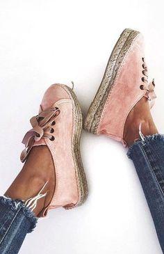 #summer #women's #shoes #inspiration | Blush Suede Espadrilles