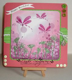 Patterned Card and Sparkle Medium, Dragonfly and Flower stencil Card Patterns, Imagination, Stencils, Sparkle, Medium, Frame, Flowers, Cards, Home Decor