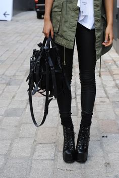 Millitary Jacket, Doc Martins....Perfect look all around #comfort