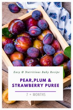 This Pear, Plum and Strawberry Puree recipe is sure to please your little one's taste buds and bring you joy knowing that you are giving them nourishing options to try. Come and get your vitamins kids! Baby Puree Recipes, Pureed Food Recipes, Baby Food Recipes, Plum Baby Food, Strawberry Puree, High Fiber Foods, Baby Led Weaning, Homemade Baby