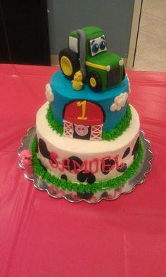 1st birthday farm animal cake