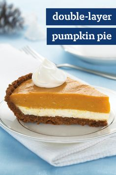 Double-Layer Pumpkin Pie – For our money, Cinderella had it wrong. We'll take the pumpkin, not the prince. This delicately layered, sweet and creamy pie dessert recipe is case in point.