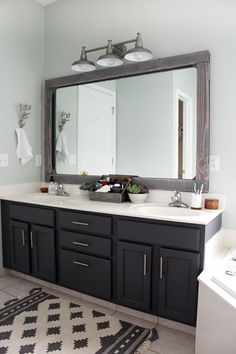 Small Bathroom Remodel Design Ideas On A Budget - home design Diy Bathroom, Bathroom Furniture, Trendy Bathroom, Bathroom Remodel Master, New Bathroom Ideas, Bathroom Update, Bathroom Vanity, Bathroom Light Fixtures, Grey Cabinets