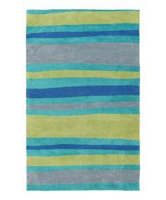 Look what I found on #zulily! Green & Blue Fusion Stripe Abigail Rug #zulilyfinds