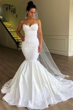 Gorgeous Embroidered Strapless Sweetheart Mermaid Wedding Dress / Bridal Gown with a Veil and a Train. Dress by Valdrin Sahiti Lace Mermaid Wedding Dress, Princess Wedding Dresses, Long Wedding Dresses, Mermaid Dresses, Bridal Dresses, Wedding Gowns, Bridesmaid Dresses, Lace Wedding, Wedding Dinner