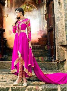 Magenta pant style Indian anarkali dress in georgette I15106