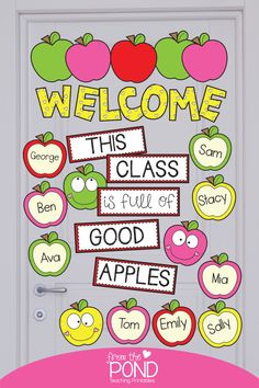 Apple Classroom Door Apples Welcome and Class Names Poster Bulletin Board Set This is a printable resource kit that includes the pieces you can print to make a 'Welcome' bulletin board, door, hall display or window display! Apple Bulletin Boards, Toddler Bulletin Boards, Welcome Bulletin Boards, Kindergarten Bulletin Boards, Classroom Welcome, Teacher Bulletin Boards, Welcome To School, Back To School Bulletin Boards, September Bulletin Boards