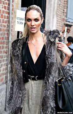 Candice Swanepoel. Glamorous layers and textures.