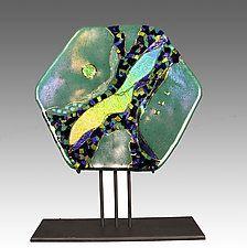 """Emerald Moon Hexagon by Karen Ehart (Art Glass Sculpture) (12"""" x 9"""")"""