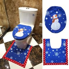 Christmas Toilet Seat Cover And Rug Bathroom Set