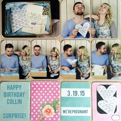 HAPPY BIRTHDAY SURPRISE!! - Scrapbook.com - Love all the photos and customized cards in this pocket page spread!