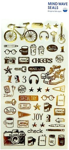 Japanese Gold-foiles Day Life Clear Sticker. by niconecozakkaya on Etsy