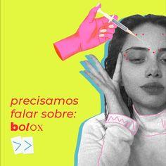 """""""O botox é um dos procedimentos mais indicados por ser altamente eficiente no tratamento e prevenção da linhas de expressão, que com o passar do tempo, acabam causando uma """"fratura"""" na pele e se transformando em rugas permanentes."""" Curtain Bangs, Hair Trends, Movie Posters, Mood, Combat Boots, Beauty, Routine, Balcony, Women"""