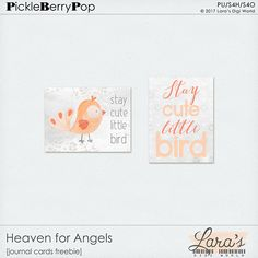 FREE Heaven for Angels Journal Cards Freebie :January's Pickle Barrel  is open and the orange in the palette inspired me to create something cute and fun for all kids in the world. Heave...