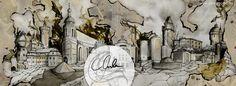 #Cottbus #Skyline #Monuments #carographic #watercolor #painting