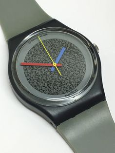 Swatch Watch Grey Flannel GA104 1987 Vintage Black Primary Color Hands Christmas Gift by ThatIsSoFunny on Etsy