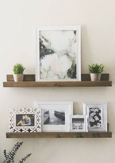 Ledge Shelf, Floating New Homes, Farmhouse Decor, Interior Design, Living Room, Wall Decor, Interior, Shelves, Floating Shelves, Home Decor