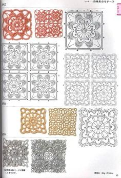 Motifs, motivos - assorted, squares, etc - lee ann hamm - Picasa Web Albums Crochet Stitches Chart, Crochet Edging Patterns, Crochet Diagram, Thread Crochet, Stitch Patterns, Crochet Quilt, Crochet Cross, Crochet Squares, Russian Crochet
