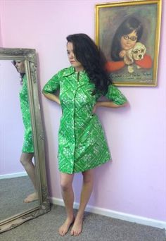 Pia & Paula-  Vintage 1970's Apple Green Shirt Dress £37.00 Stunning example of a truly unique vintage dress which has been reworked by Designer Kate Siller