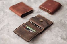 Leather wallet Wallet slim Wallet credit card Wallet front