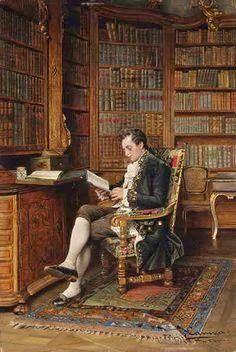 Un caballero leyendo en la biblioteca  Johann Hamza. (Austria, 1850 - 1927)