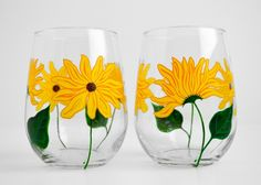 Stemless Wine Glasses With Yellow Sunflowers - Set Of 2 by Mary Elizabeth Arts on Gourmly
