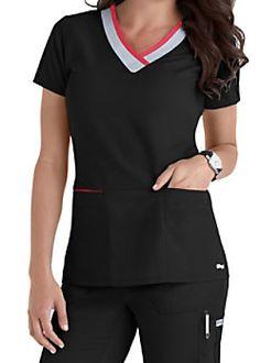 Greys Anatomy Color Block V-neck Scrub Tops Main Image Dental Scrubs, Medical Scrubs, Nursing Scrubs, Scrubs Outfit, Scrubs Uniform, Cute Scrubs, Greys Anatomy Scrubs, Medical Uniforms, Womens Scrubs