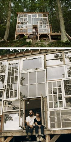 Cabin with recycled windows