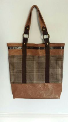 Tartan and leather tote